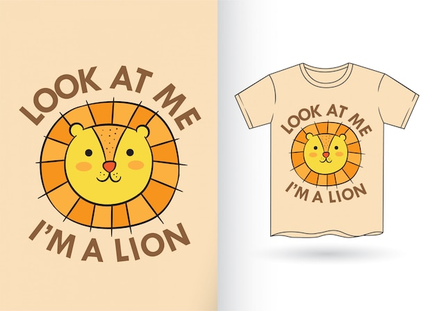 Kreskówka ładny lew na koszulkę