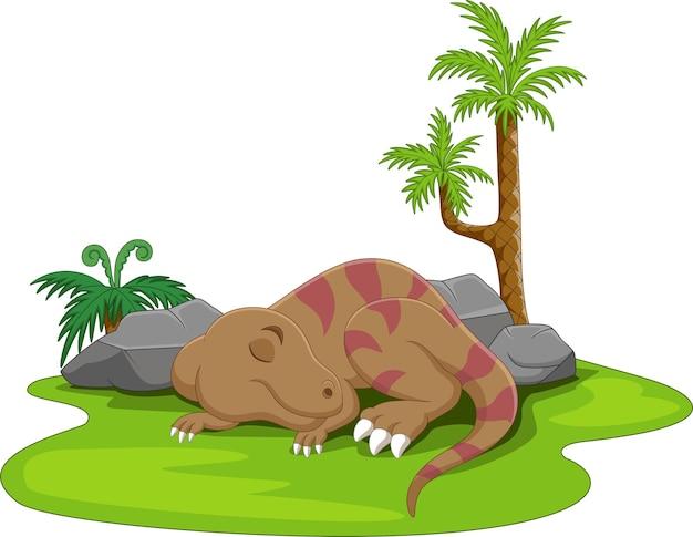 Kreskówka ładny mały dinozaur śpi w trawie