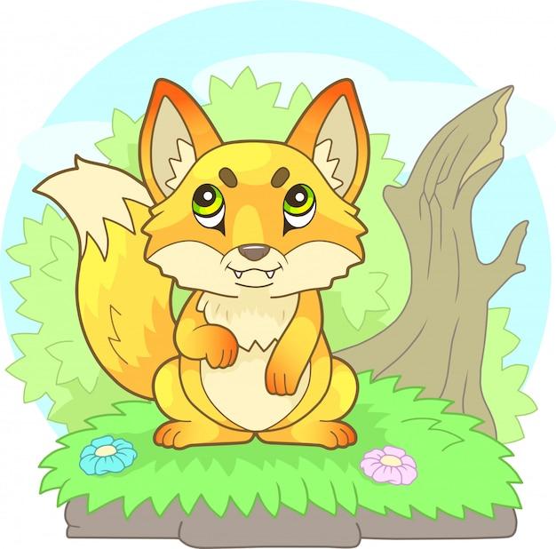 Kreskówka ładny mały lis siedzi przy krzaku, zabawna ilustracja