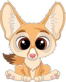 Kreskówka ładny mały lis siedzi