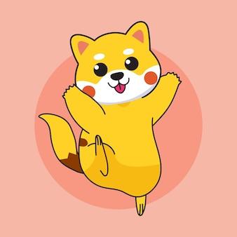 Kreskówka ładny mały pies shiba postać