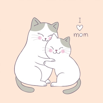 Kreskówka ładny mama i dziecko kot wektor.