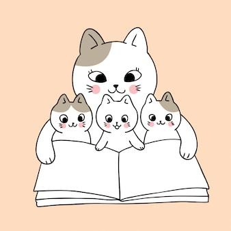 Kreskówka ładny mama i kot dziecko czytanie książki wektor.