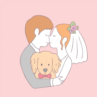 Kreskówka ładny panny młodej pocałunek pana młodego i pies wektor.