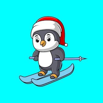 Kreskówka ładny pingwin jeździ na nartach