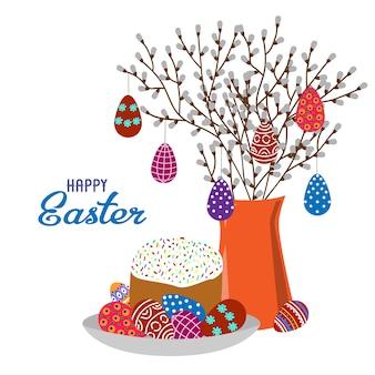 Kreskówka ładny płaski wazon z gałęzi wiosny, pisanki i ciasto wielkanocne na białym tle.
