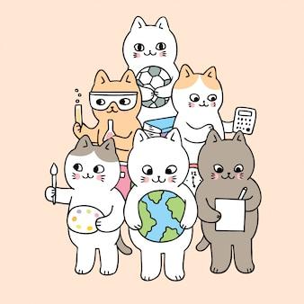 Kreskówka ładny powrót do szkoły doodle koty