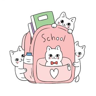 Kreskówka ładny powrót do szkoły kota w torbie