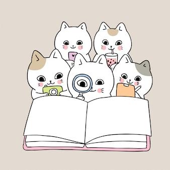 Kreskówka ładny powrót do szkoły kotów czytanie książki