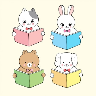 Kreskówka ładny powrót do zwierząt szkolnych, czytanie książki.