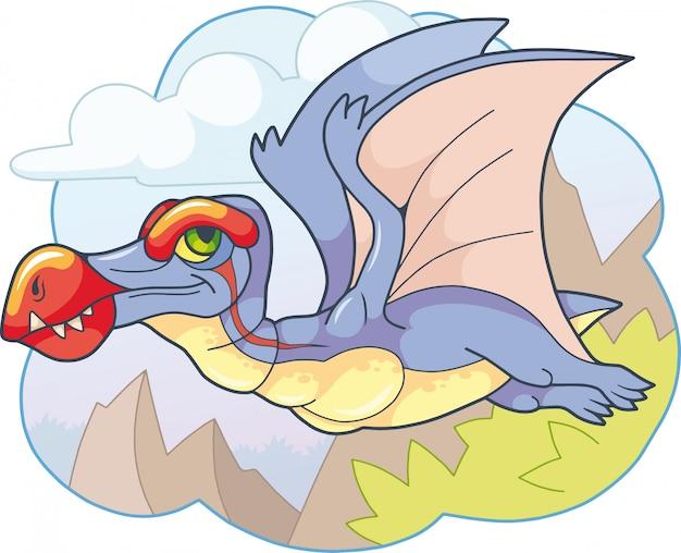 Kreskówka ładny pterozaur prehistoryczny dinozaur, zabawna ilustracja