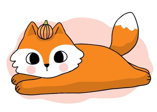 Kreskówka ładny ręcznie rysować lisa i parasola jesienny wektor