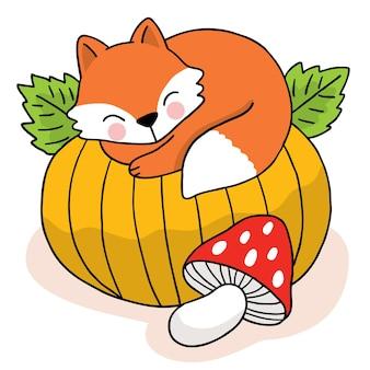 Kreskówka ładny ręcznie rysować lisa spać na dużym dyniowym wektorze jesiennym .