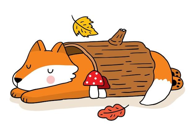 Kreskówka ładny ręcznie rysować lisa spać w dzienniku jesień wektor