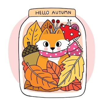 Kreskówka ładny ręcznie rysować lisa w szkle bottel jesienny wektor
