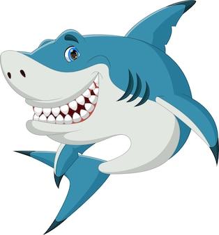 Kreskówka ładny rekin pozuje uśmiechnięty na białym tle