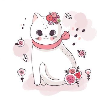 Kreskówka ładny śliczny biały kot i kwiat