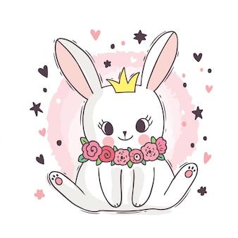 Kreskówka ładny śliczny biały królik i kwiat i korony