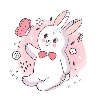 Kreskówka ładny śliczny biały królik i motyl.