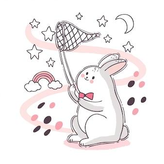 Kreskówka ładny śliczny biały królik łapanie gwiazdy na niebie.