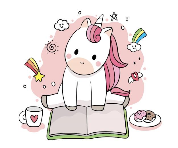 Kreskówka ładny słodki jednorożec czytanie książki wektor wzór.