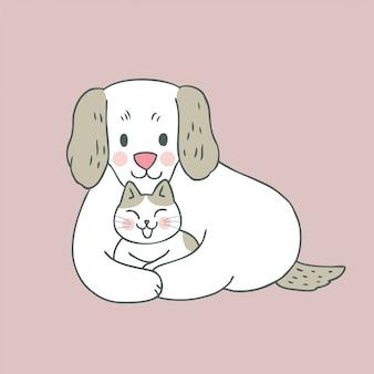 Kreskówka ładny słodki kot i pies