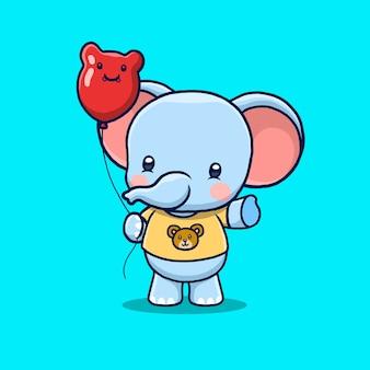 Kreskówka ładny słoń trzyma balon