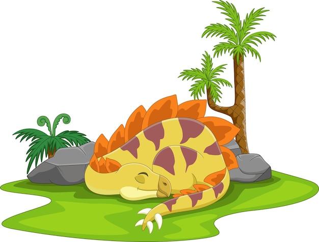 Kreskówka ładny stegozaur dinozaur śpi!