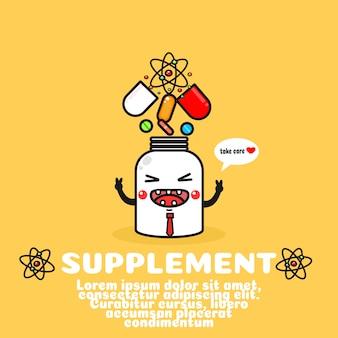 Kreskówka ładny suplement diety