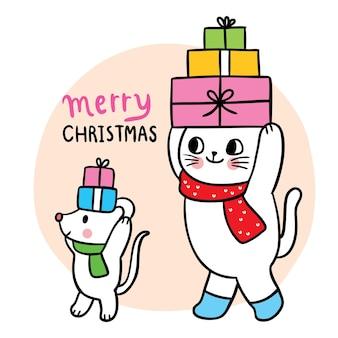Kreskówka ładny świąteczny i nowy rok kot i mysz i prezenty wektor