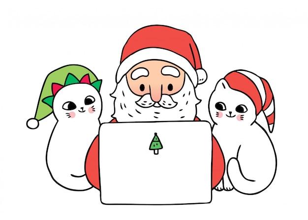 Kreskówka ładny święty mikołaj i koty gry laptopa