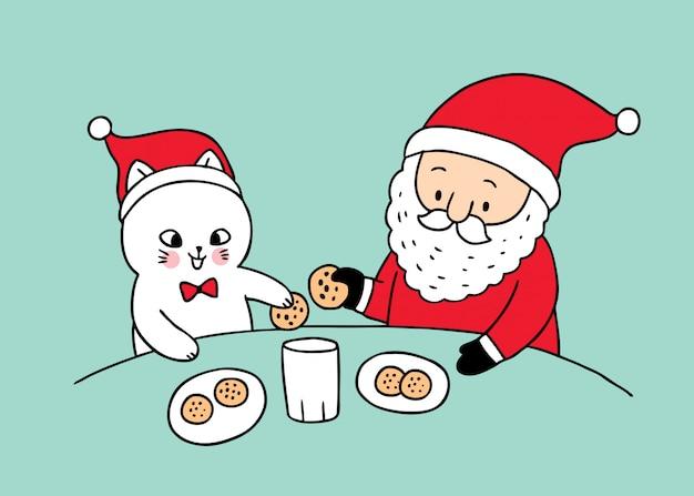 Kreskówka ładny święty mikołaj i koty, jedzenie ciasteczek.