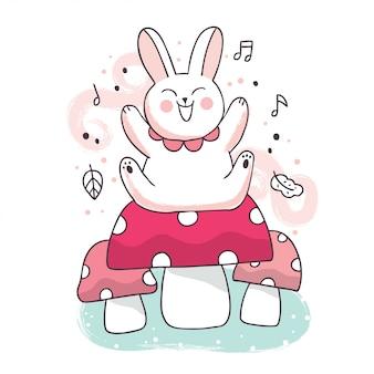 Kreskówka ładny wiosenny królik siedzi na duże grzyby