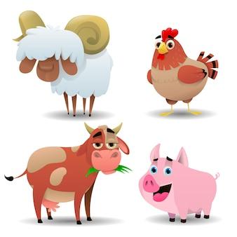 Kreskówka ładny zestaw zwierząt gospodarskich na białym tle