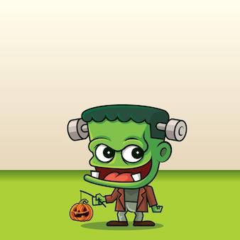 Kreskówka ładny zielony potwór trzymający dynię jack o lantern na tle pustej przestrzeni