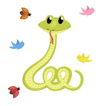 Kreskówka ładny zielony uśmiech węża wektor zwierzę ilustracja.