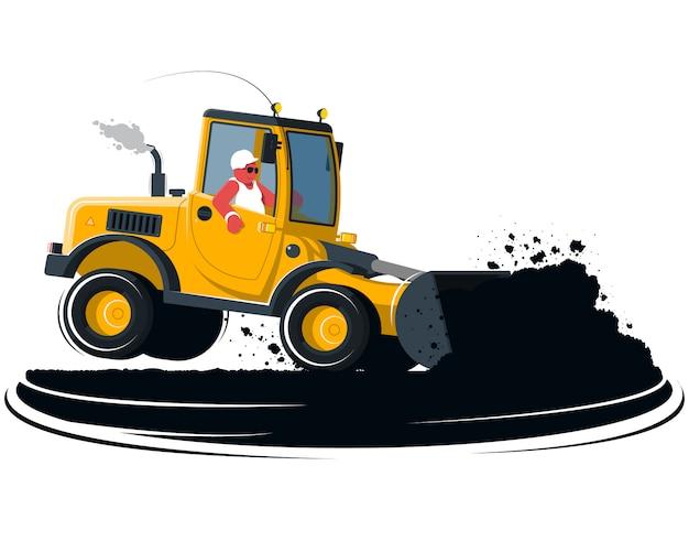 Kreskówka ładowarka kołowa z kierowcą na czarnej ziemi