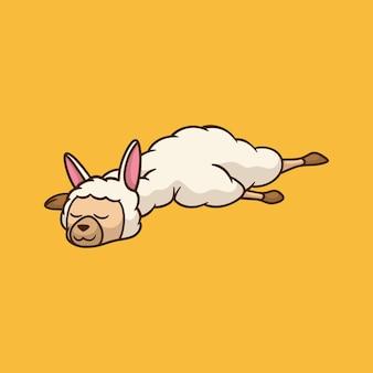 Kreskówka lamy śpi na pomarańczowo