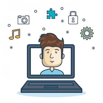 Kreskówka laptop facet ikony projektowanie stron internetowych