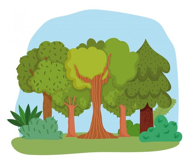 Kreskówka las z krzewami i drzewami