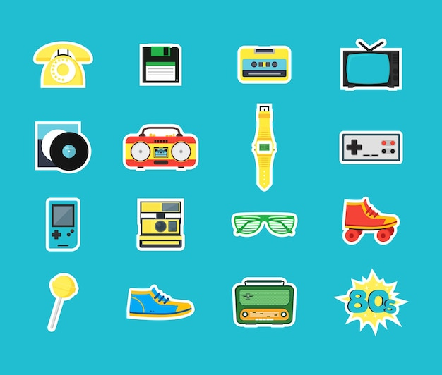 Kreskówka lat osiemdziesiątych styl symbol kolor ikony zestaw retro koncepcja taśmy audio, telefon i akcesoria do butów biodrówki