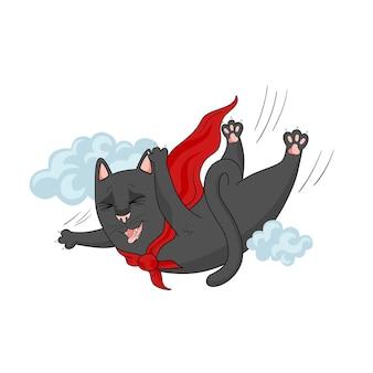 Kreskówka latający czarny kot. zabawny projekt superbohatera