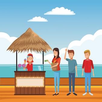 Kreskówka lato na plaży