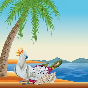 Kreskówka lato plaża i wakacje