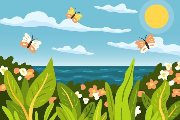 Kreskówka lato tło do wideokonferencji
