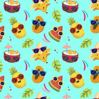 Kreskówka lato tropikalny wzór