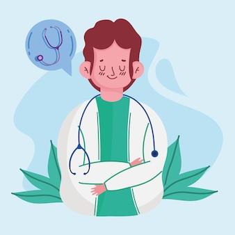Kreskówka lekarz mężczyzna