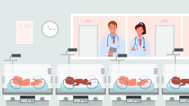 Kreskówka lekarz neonatolog szczęśliwe postacie rodzicielskie stojące ludzie patrzący z miłością na noworodka
