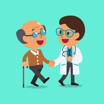 Kreskówka lekarz pomaga stary człowiek chodzić