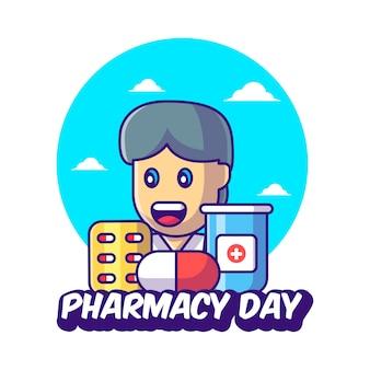 Kreskówka lekarz wektor ilustracje z lekami na dzień apteki. koncepcja dnia apteki i ikona medycyny